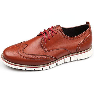 Shopnitic Men's Brogues Oxford Wingtip Genuine Leather Dress Shoes for Business Casual Lace-up Brown | Oxfords