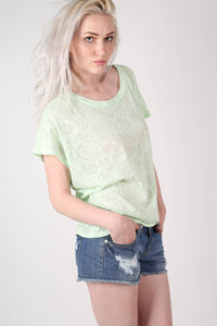BURNOUT PAISLEY PRINT OVERSIZED TOP IN MINT GREEN