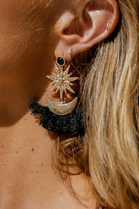 SUN AND MOON TASSEL EARRINGS (GOLD/BLACK)