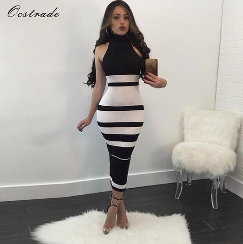 Ocstrade Striped Backless Bodycon Dress