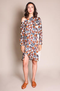 POUT TUNIC IN BROWN VARGAS FLORAL