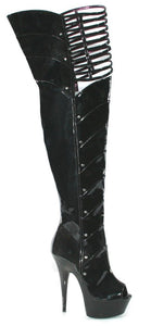 6 Inch Heel Peep Toe Thigh High with Knee Cut-Outs