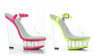 6 Inch Heel Clear And Neon Wedge with Ankle Strap