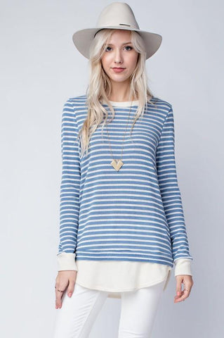 Gina Stripe Contrast Top - Blue