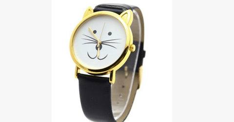 Black Lovely Cat Retro Ladies Watch