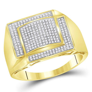 YELLOW GOLD MENS ROUND DIAMOND SQUARE CLUSTER RING