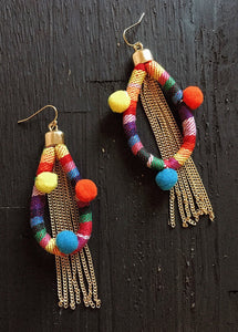 Ettika Dahl Rainbow Pom Pom Earrings