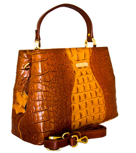 Andria - Italian Leather Croc Print Handbag/Brown