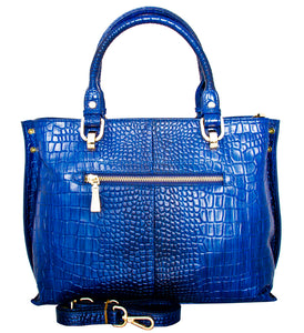 Velletri - Italian Leather Croc Print Handbag/Blue