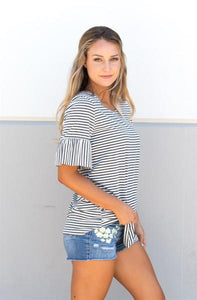 Striped Flare Sleeve Tunic