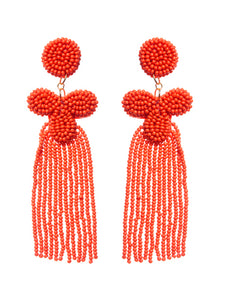 BEADED TASSEL STUD EARRINGS
