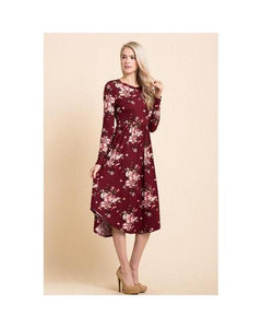 Wine Floral Print Midi Dress with Round Hem and Pockets