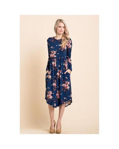 Navy Floral Print Midi Dress with Round Hem and Pockets