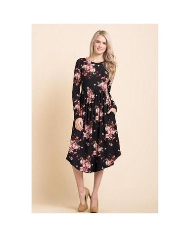 Black Floral Print Midi Dress with Round Hem and Pockets