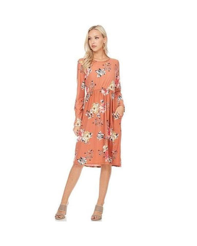 Rust Print Midi Dress with Long Sleeves and Pockets