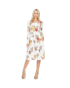 Ivory Floral Print Midi Dress with Long Sleeves and Pockets
