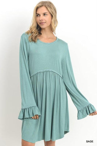 Smock Dress With Long Trumpet Sleeves