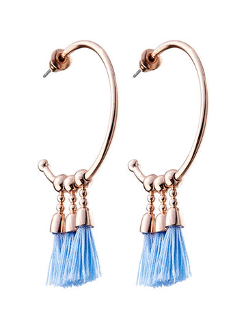 THREE TASSEL HOOP EARRING