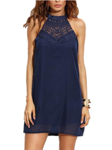 Lace Stitching Women Halter Sleeveless Simple Mini Dress