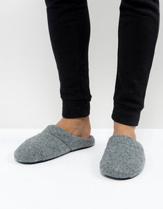 ASOS Slip On Slippers In Gray Marl