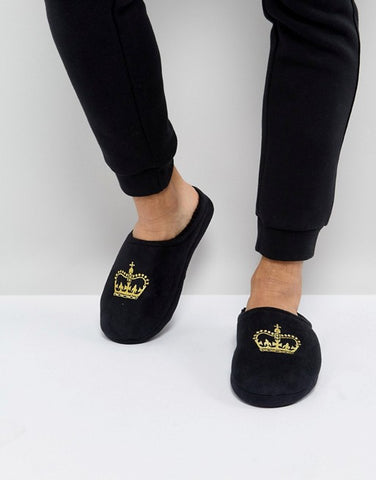 ASOS Slip On Slippers In Black With Crown Embroidery