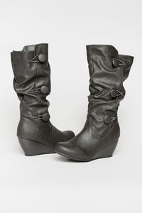 Button wedge boots