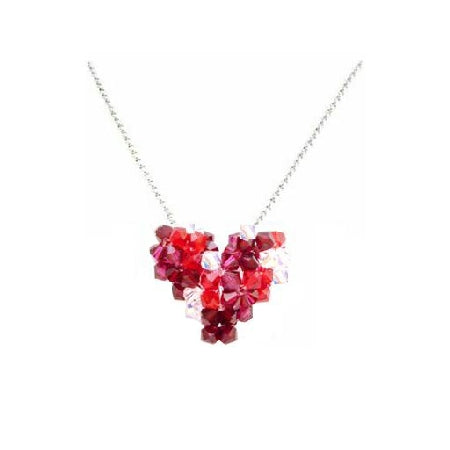 Shop Heart Necklace Siam Red Crystals Necklace For Party Wear
