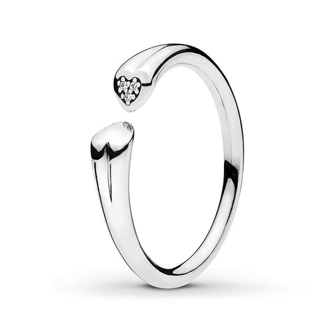 PANDORA Ring Two Hearts Sterling Silver