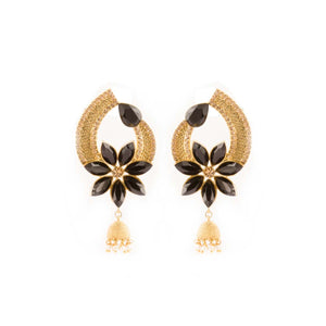 Indian Ethnic Black And Golden Floral Design Earrings With Multi Pearl Hanging