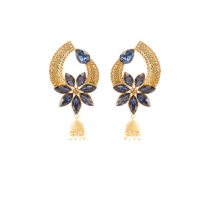 Indian Ethnic Blue And Golden Floral Design Earrings With Multi Pearl Hanging