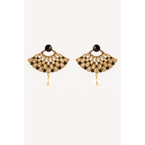 Traditional Indian Black And Gold Earrings With Pearl Hanging