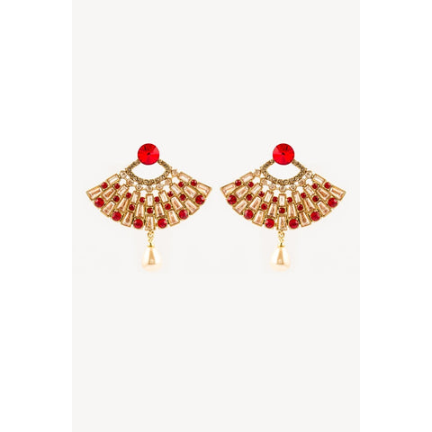 Traditional Indian Red And Gold Earrings With Pearl Hanging