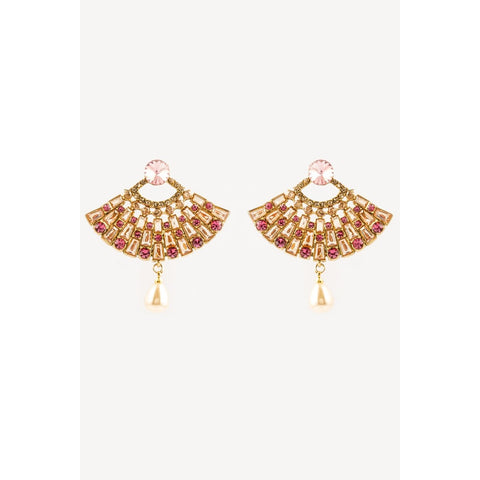 Traditional Indian Pink And Gold Earrings With Pearl Hanging