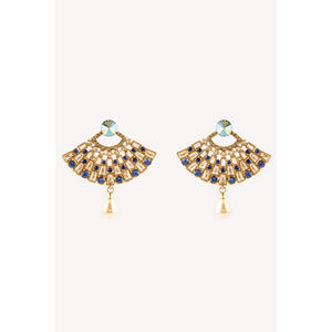 Traditional Indian Gold Earrings With Pearl Hanging