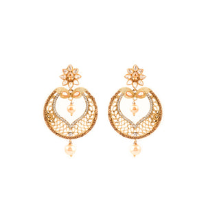 Artificial Indian Ethnic Golden Earrings With Hangings Peal Inside