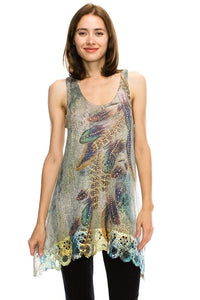 Colorful Knit Embellished Feathers & Lace Tank