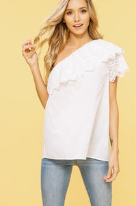 Listicle One Shoulder Eyelet Top - Ivory