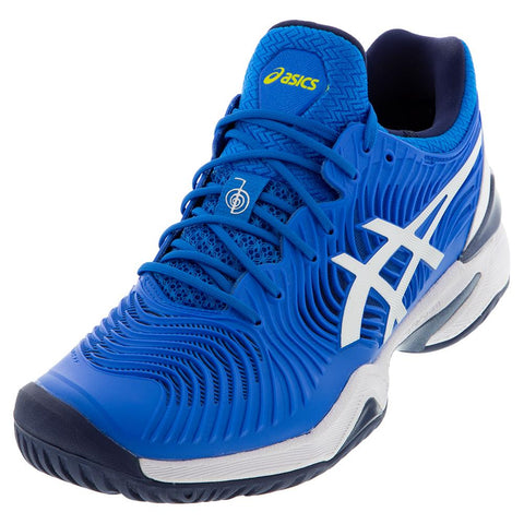 Asics Men's Court FF Novak Tennis Shoes Electric Blue and White