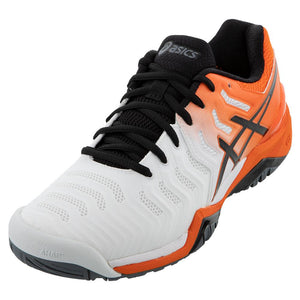 Asics Men's GEL-Resolution 7 Tennis Shoes White and Koi