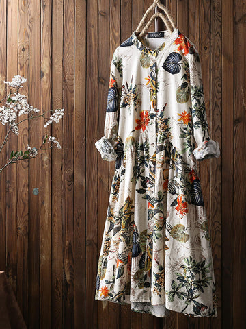 Leaves Floral Print Pleated Long Sleeve Vintage Dress - Yellow 2XL