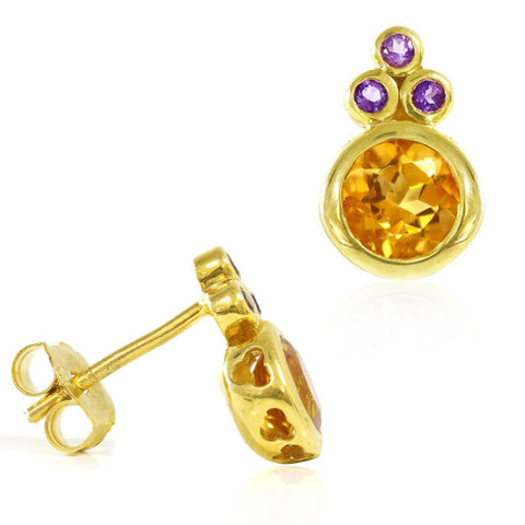 Yellow Gold Plated Silver Earrings with Citrine and Amethyst