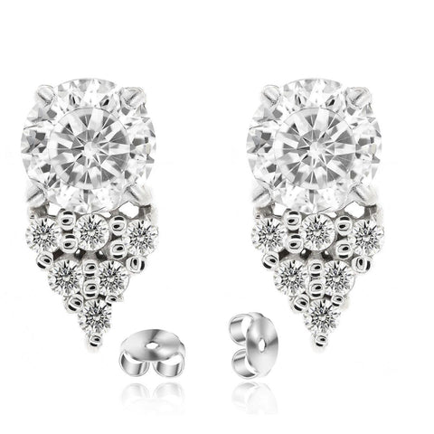Rhodium Plated Silver Stud Earrings with Round Brilliant and Premium Cubic Zirconia