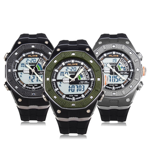 MENS ALIKE WATCHES K9140 SPORT LED WATERPROOF RUBBER MEN WRIST WATCH