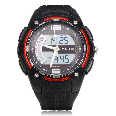MENS ALIKE WATCHES AK1280 SPORT LED WATERPROOF RUBBER MEN WRIST WATCH
