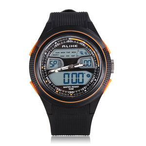 MENS ALIKE SPORT WATCHES LED WATERPROOF DUAL DISPLAY RUBBER MEN WRIST WATCH