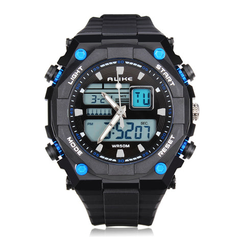MENS ALIKE WATCHES AK1275 SPORT LED WATERPROOF RUBBER MEN WRIST WATCH