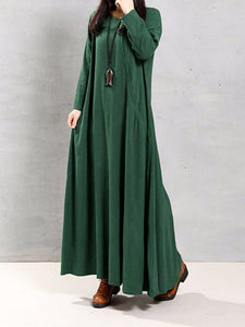 Vintage Women Cotton O-Neck Solid Color Irregular Hem Maxi Dress - Green L