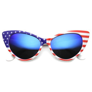 PATRIOTIC AMERICAN FLAG CAT EYE FROST SUNGLASSES