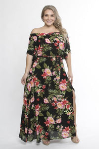 Black Floral Off Shoulder Maxi