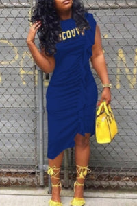 Royal Blue Knee Length Dress with Ruffle Side